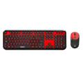 Everest Round KM-6282 Siyah/Kırmızı Kablosuz Q Multimedia Klavye + Mouse Set