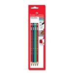 Faber Castell 4'lü Kırmızı Mavi Yeşil Kalem