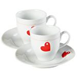 Kütahya Porselen Kalp Temalı Fincan Takımı 2'li