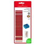 Faber Castell 12'li Kırmızı Kopya Kalemi (Silgi ve Kalemtıraş Hediyeli)