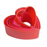 Kalp Şekilli Kırmızı Kalıp 5 Parça