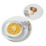 Mor-Pembe Çicek Desenli Yemek Takımı 24 Parça