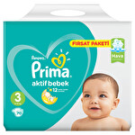 Prima Bebek Bezi Aktif Bebek 3 Beden Midi Fırsat Paketi 70 Adet