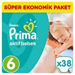 Prima Bebek Bezi Aktif Bebek 6 Beden Ekstra Large Süper Ekonomik Paketi 38 Adet