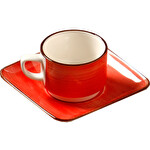 Güral Porselen Kırmızı Tabaklı Çay Fincanı