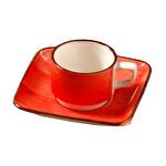 Güral Porselen Kırmızı Tabaklı Kahve Fincanı