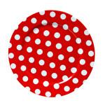 Porland Puantiye Desenli Kırmızı Düz Tabak 20 cm