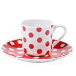 Porland Puantiye Kırmızı Tabaklı Kahve Fincanı