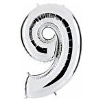 Folyo Balon Gümüş Rakam 9 96 cm