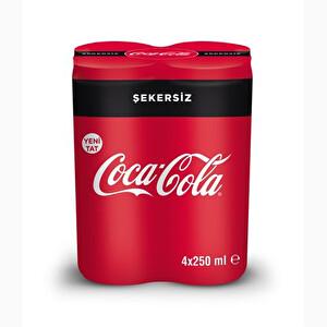 Coca Cola Şekersiz Kutu 4*250 ml