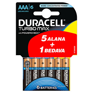 Duracell Turbo Max Alkalin AAA Piller 6'lı Paket