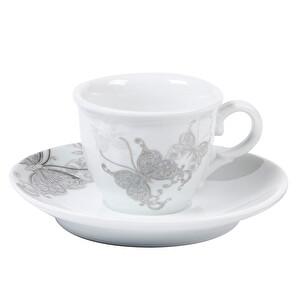 Güral Porselen Kelebek Desenli Kahve Fincan Seti 12 Parça