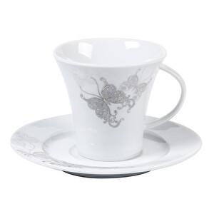Güral Porselen Kelebek Desenli Çay Fincan Seti 12 Parça