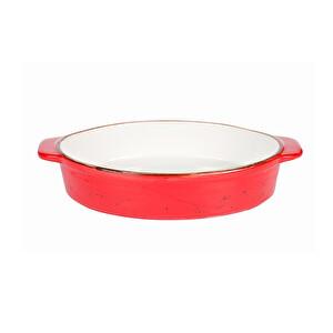 Tulu Porselen Küçük Kırmızı Fırın Kabı