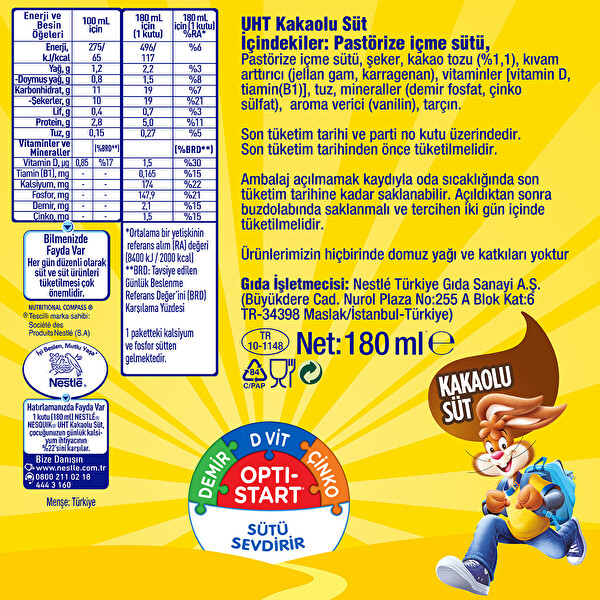 Nestle Nesquik Kakaolu Sut 180 Ml 30037645 Carrefoursa